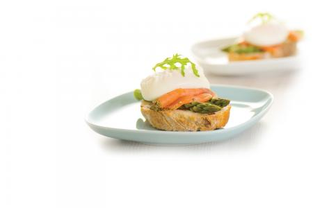 Poached egg and salmon