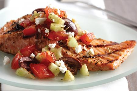 Rosemary garlic salmon with Greek-style salsa