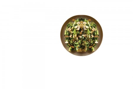 Brussels sprouts, kale and almond salad